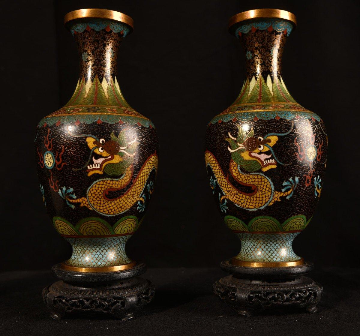 Paire De Vases émaillés En Cloisonné Sur Bronze. 1900-photo-2