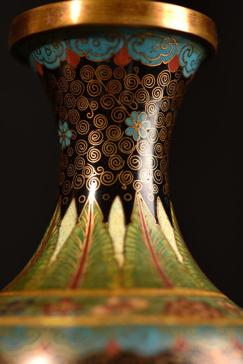 Paire De Vases émaillés En Cloisonné Sur Bronze. 1900-photo-1