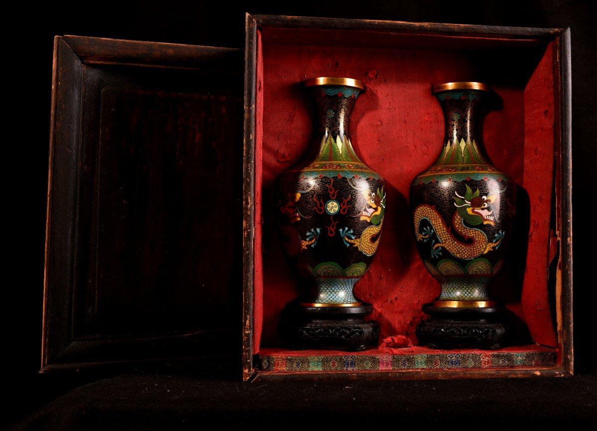 Paire De Vases émaillés En Cloisonné Sur Bronze. 1900-photo-3