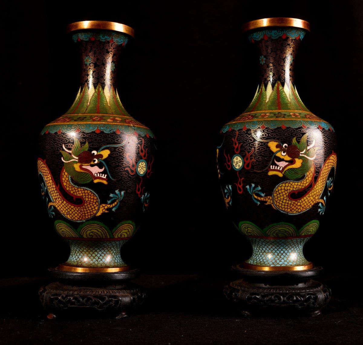 Paire De Vases émaillés En Cloisonné Sur Bronze. 1900-photo-4