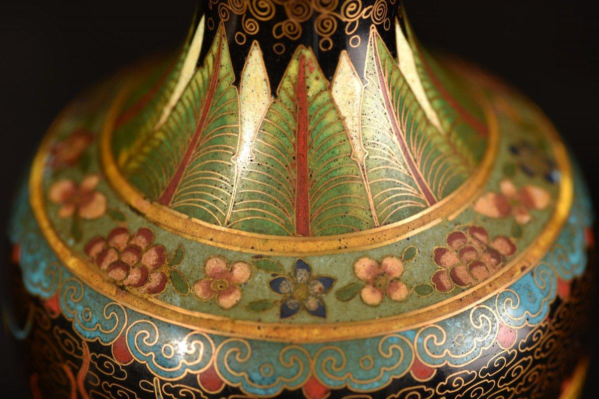 Paire De Vases émaillés En Cloisonné Sur Bronze. 1900-photo-5
