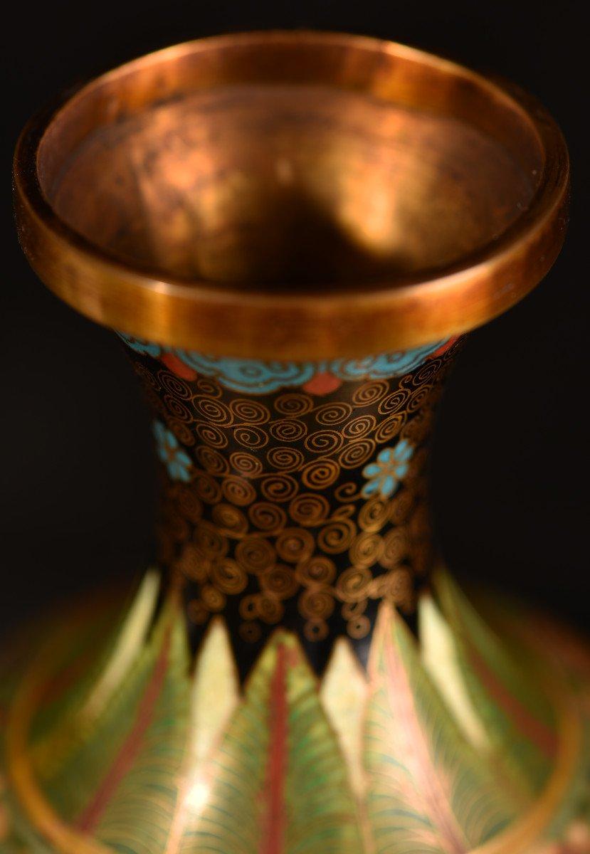 Paire De Vases émaillés En Cloisonné Sur Bronze. 1900-photo-6