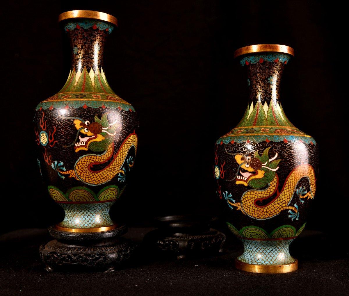 Paire De Vases émaillés En Cloisonné Sur Bronze. 1900-photo-7