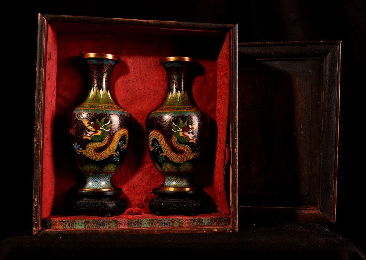 Paire De Vases émaillés En Cloisonné Sur Bronze. 1900-photo-8