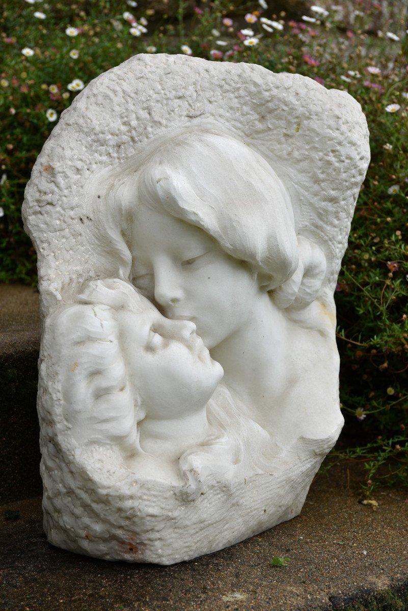 Sculpture En Marbre De Cararre XXème. Achille Fidi.-photo-3