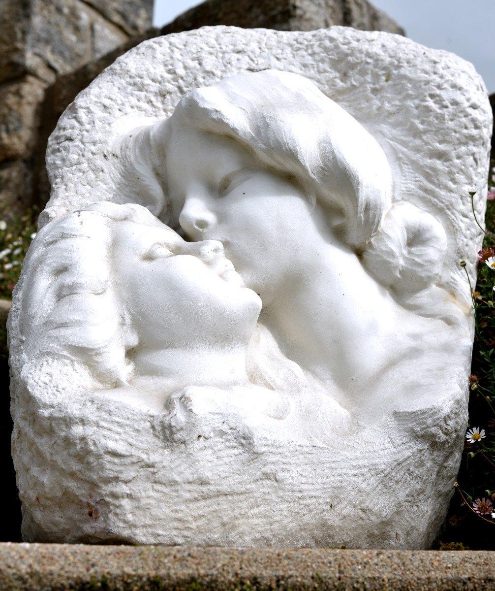 Sculpture En Marbre De Cararre XXème. Achille Fidi.-photo-1