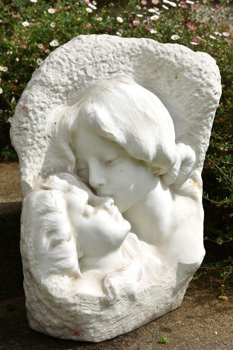 Sculpture En Marbre De Cararre XXème. Achille Fidi.-photo-2