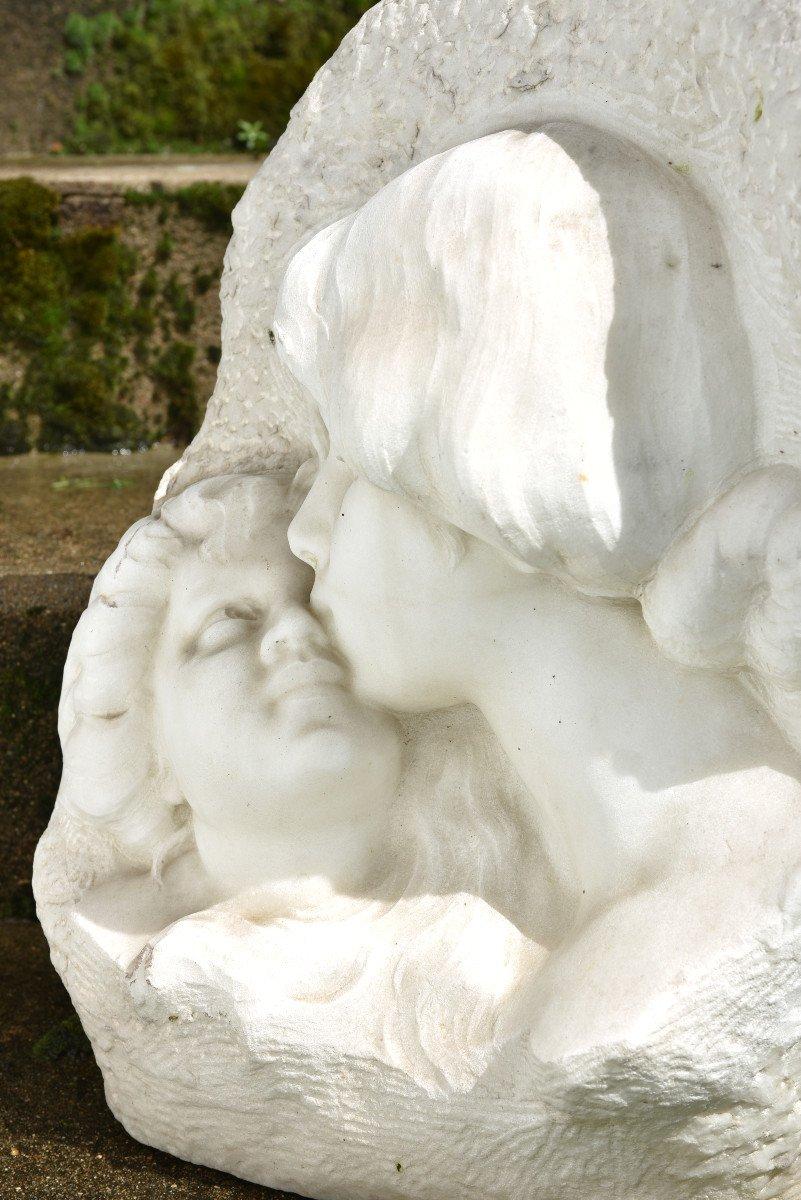 Sculpture En Marbre De Cararre XXème. Achille Fidi.-photo-8