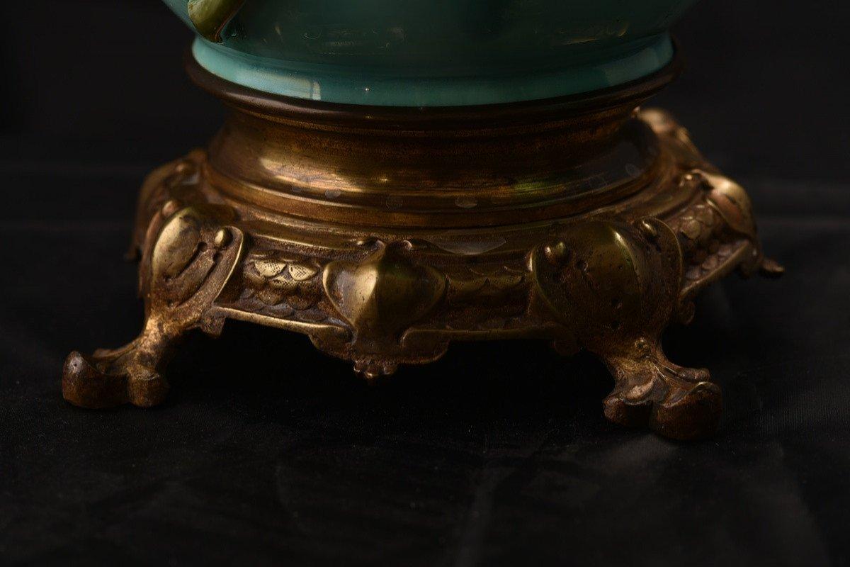 Paire De Lampes à Pétrole. Barbotine. Art Nouveau.-photo-1