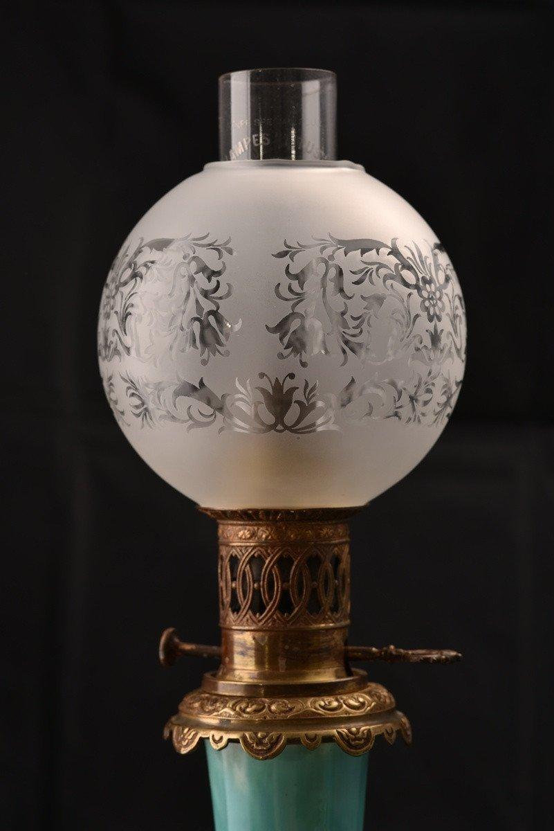 Paire De Lampes à Pétrole. Barbotine. Art Nouveau.-photo-3