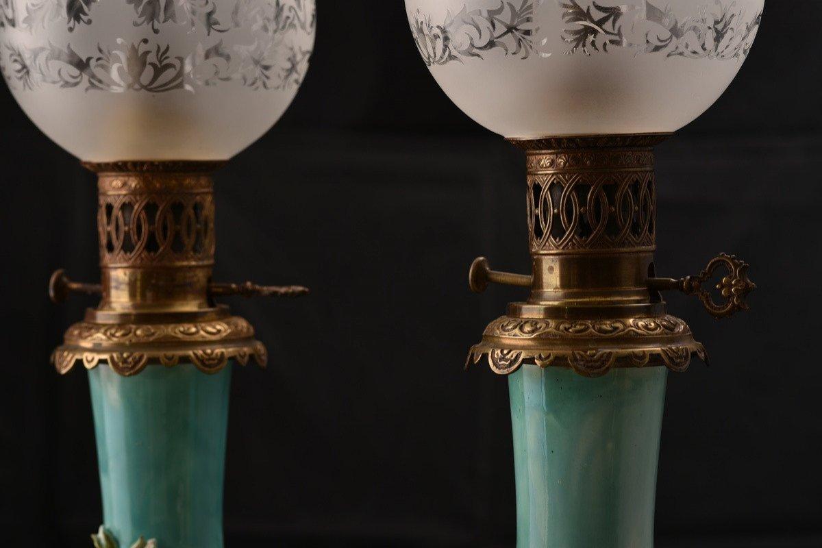 Paire De Lampes à Pétrole. Barbotine. Art Nouveau.-photo-6