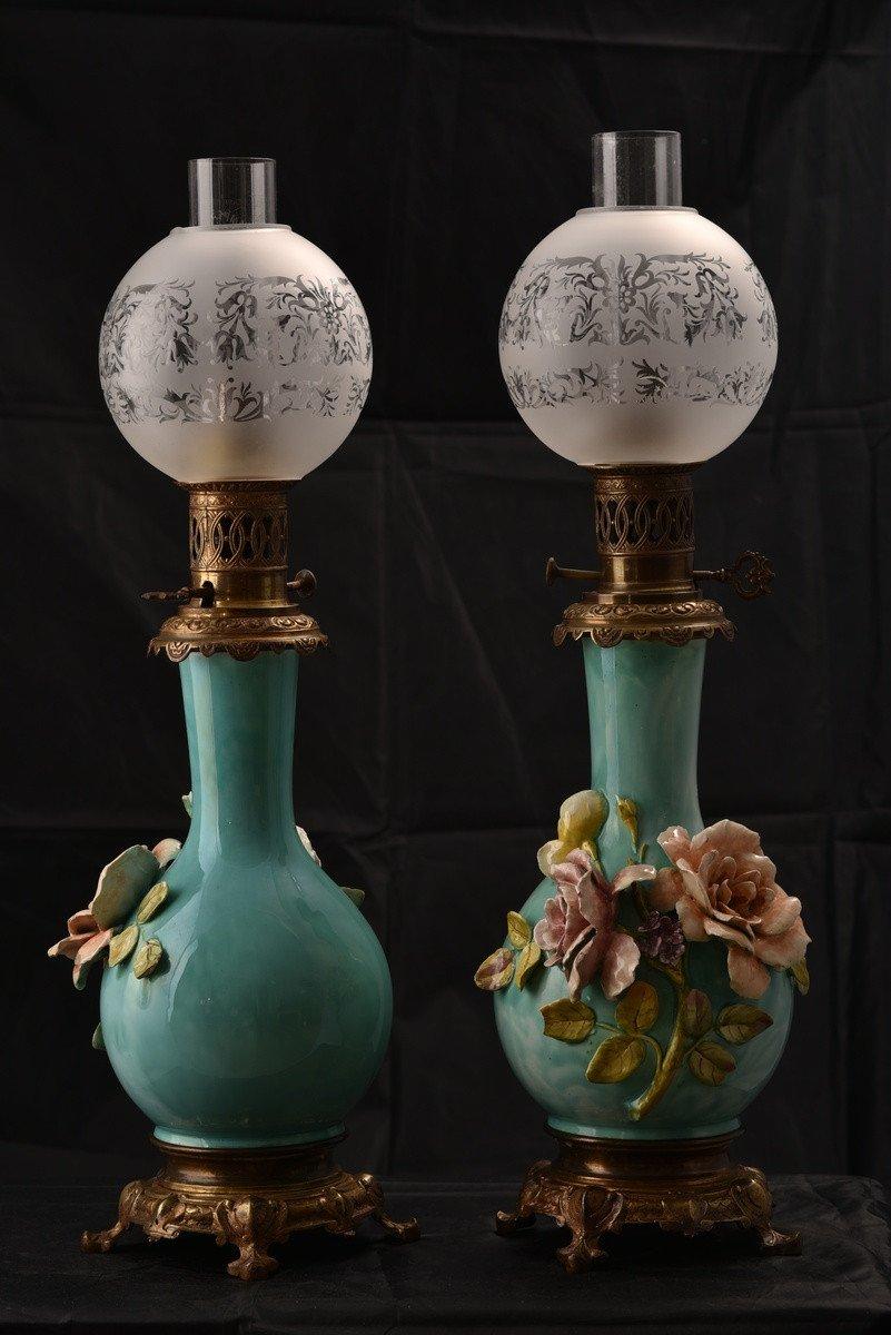 Paire De Lampes à Pétrole. Barbotine. Art Nouveau.-photo-7