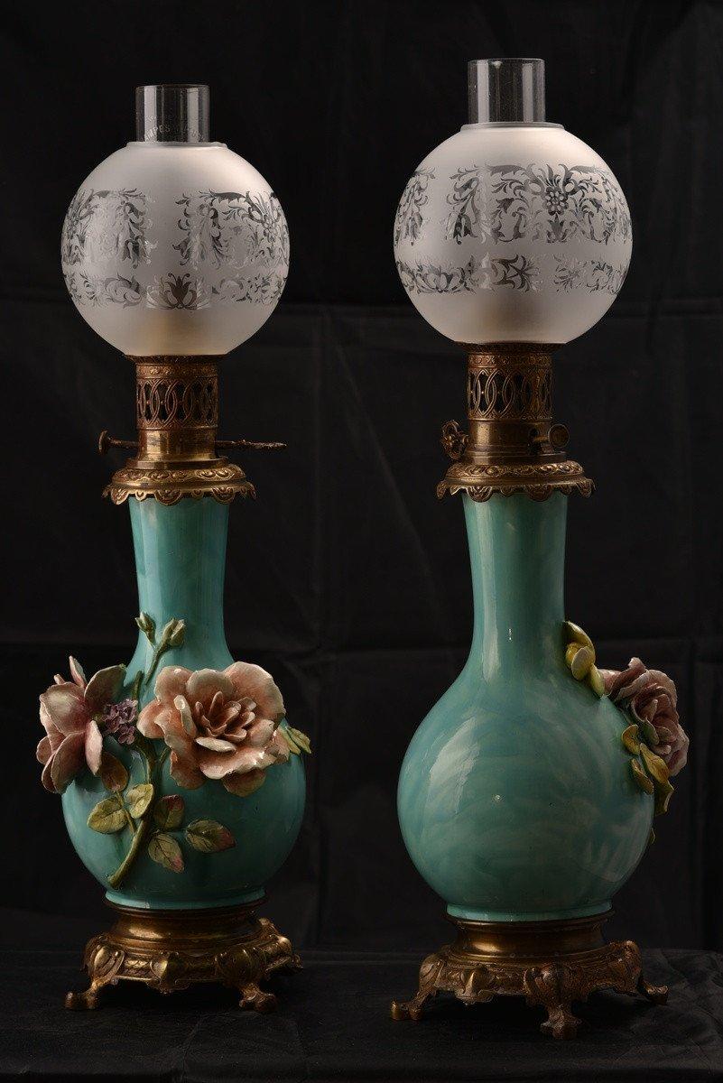 Paire De Lampes à Pétrole. Barbotine. Art Nouveau.-photo-8