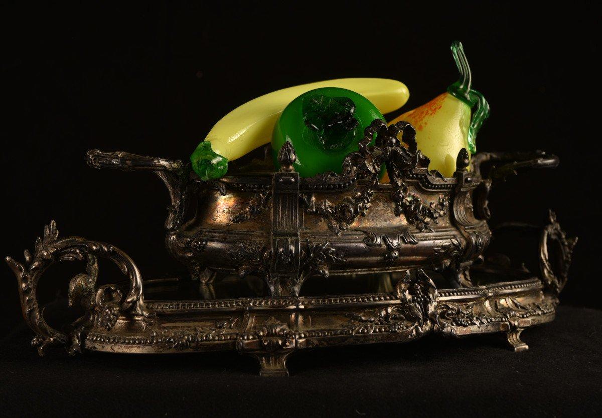 Centre De Table En Bronze Argenté. Epoque Napoléon III.-photo-2