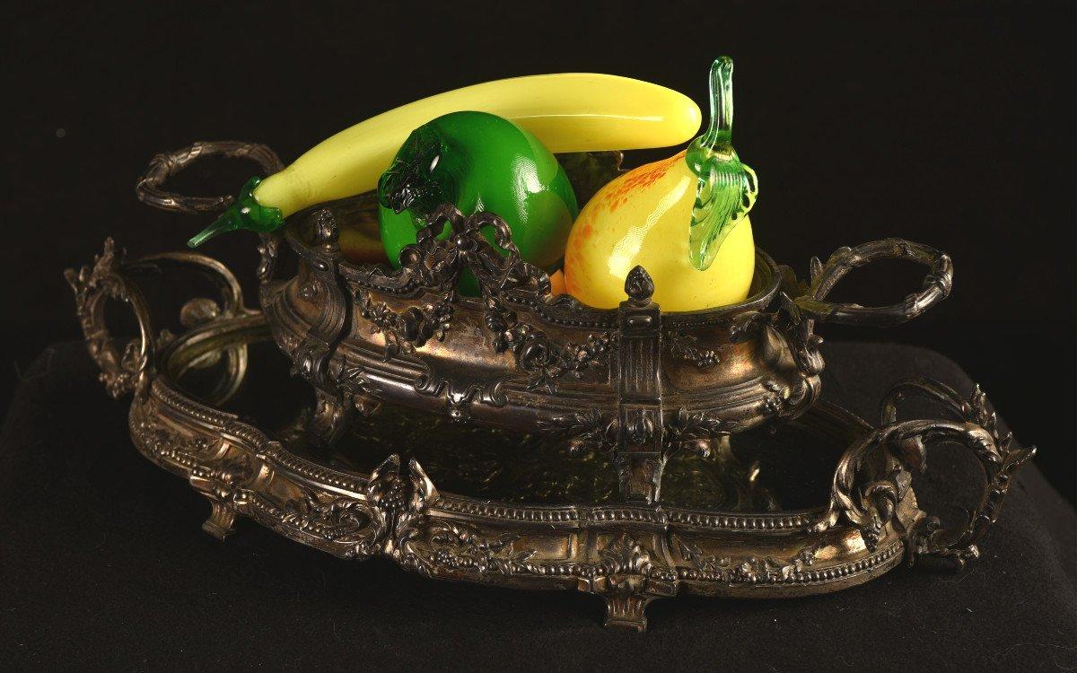 Centre De Table En Bronze Argenté. Epoque Napoléon III.-photo-3
