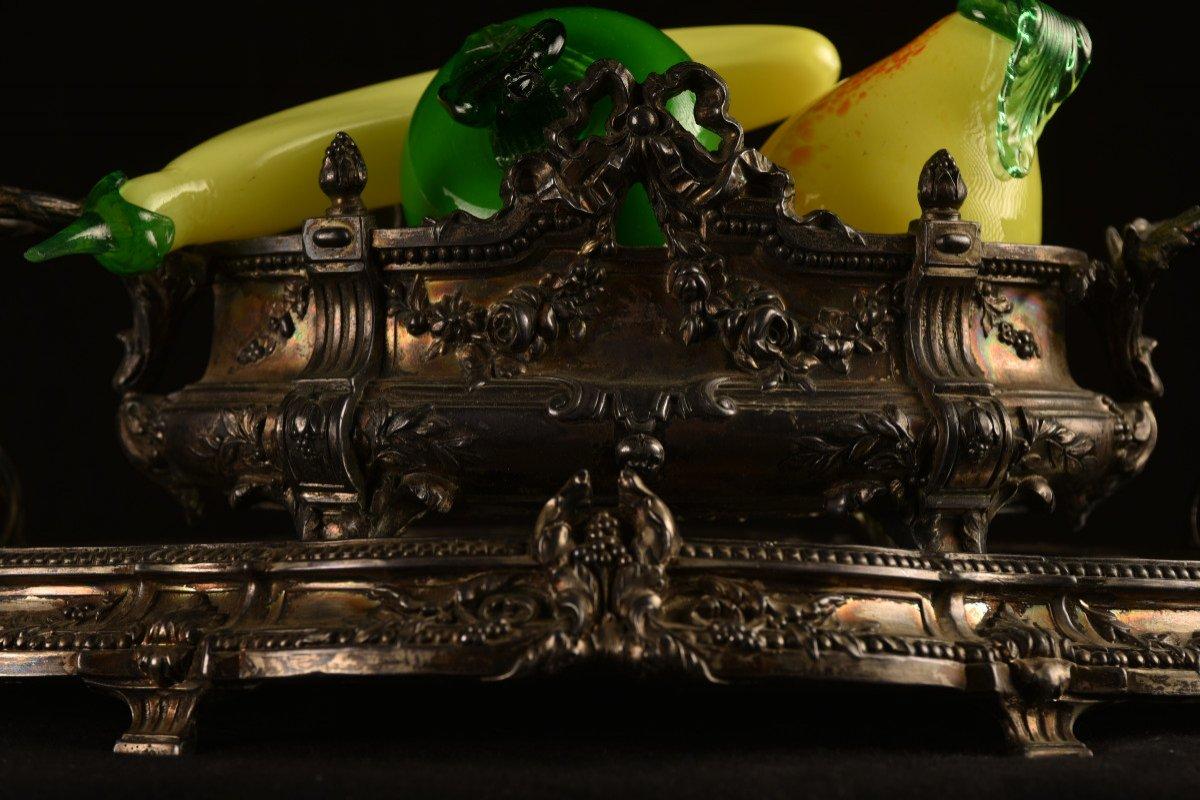 Centre De Table En Bronze Argenté. Epoque Napoléon III.-photo-4