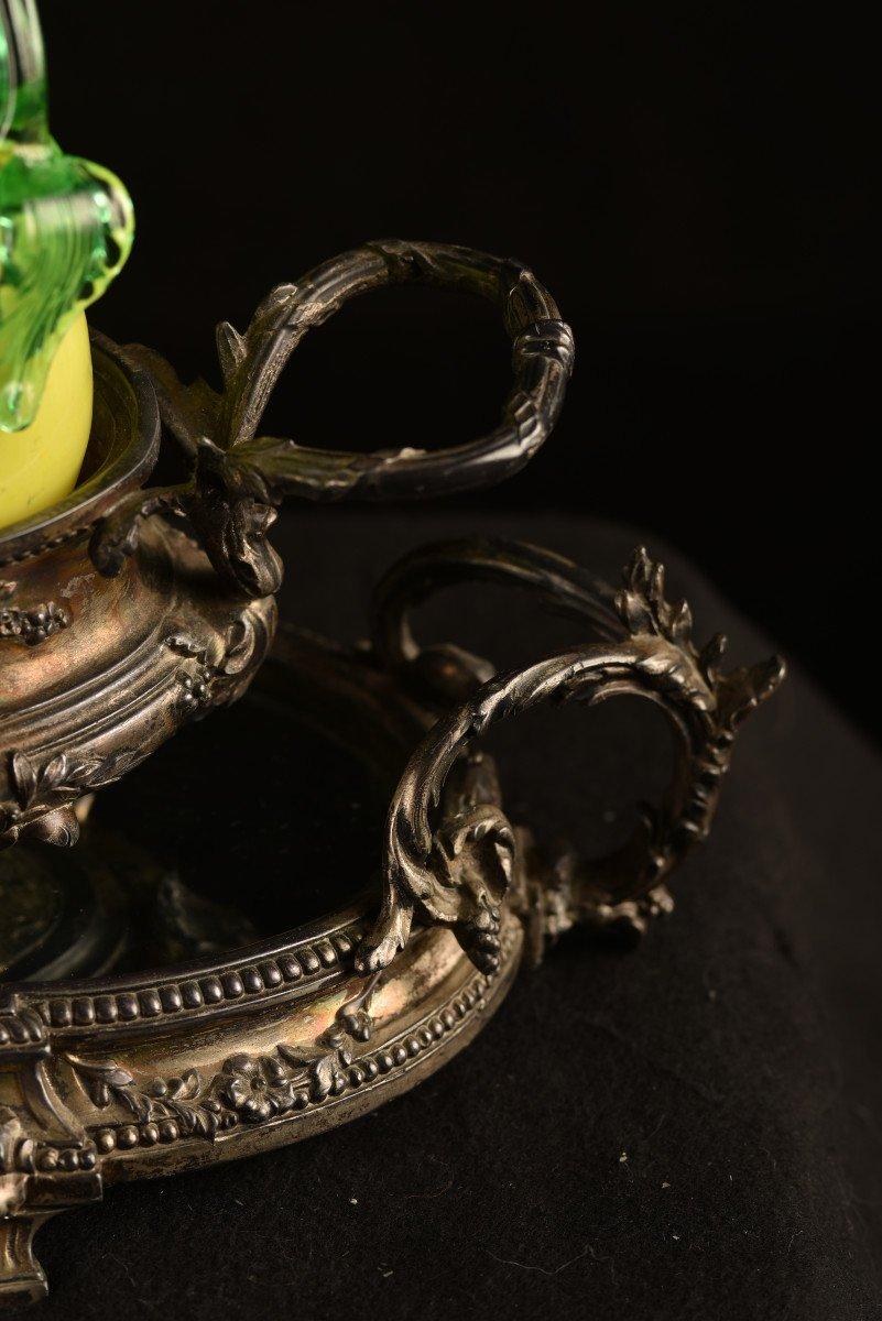 Centre De Table En Bronze Argenté. Epoque Napoléon III.-photo-6