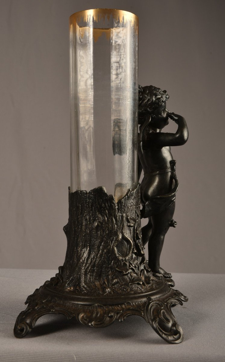 Vase Art Nouveau  Régule Et Cristal. Jugendstil. 1900.-photo-3