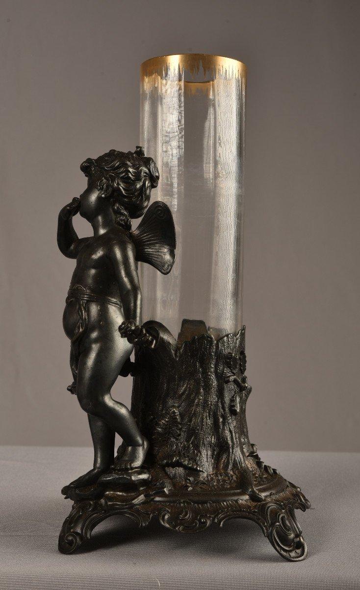 Vase Art Nouveau  Régule Et Cristal. Jugendstil. 1900.-photo-4