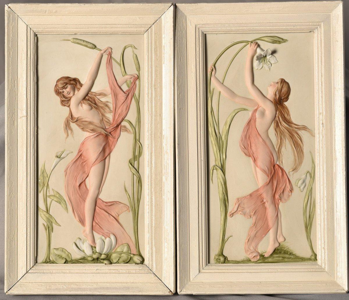 Paire De Reliefs En Biscuit Art Nouveau. Allemagne.-photo-6