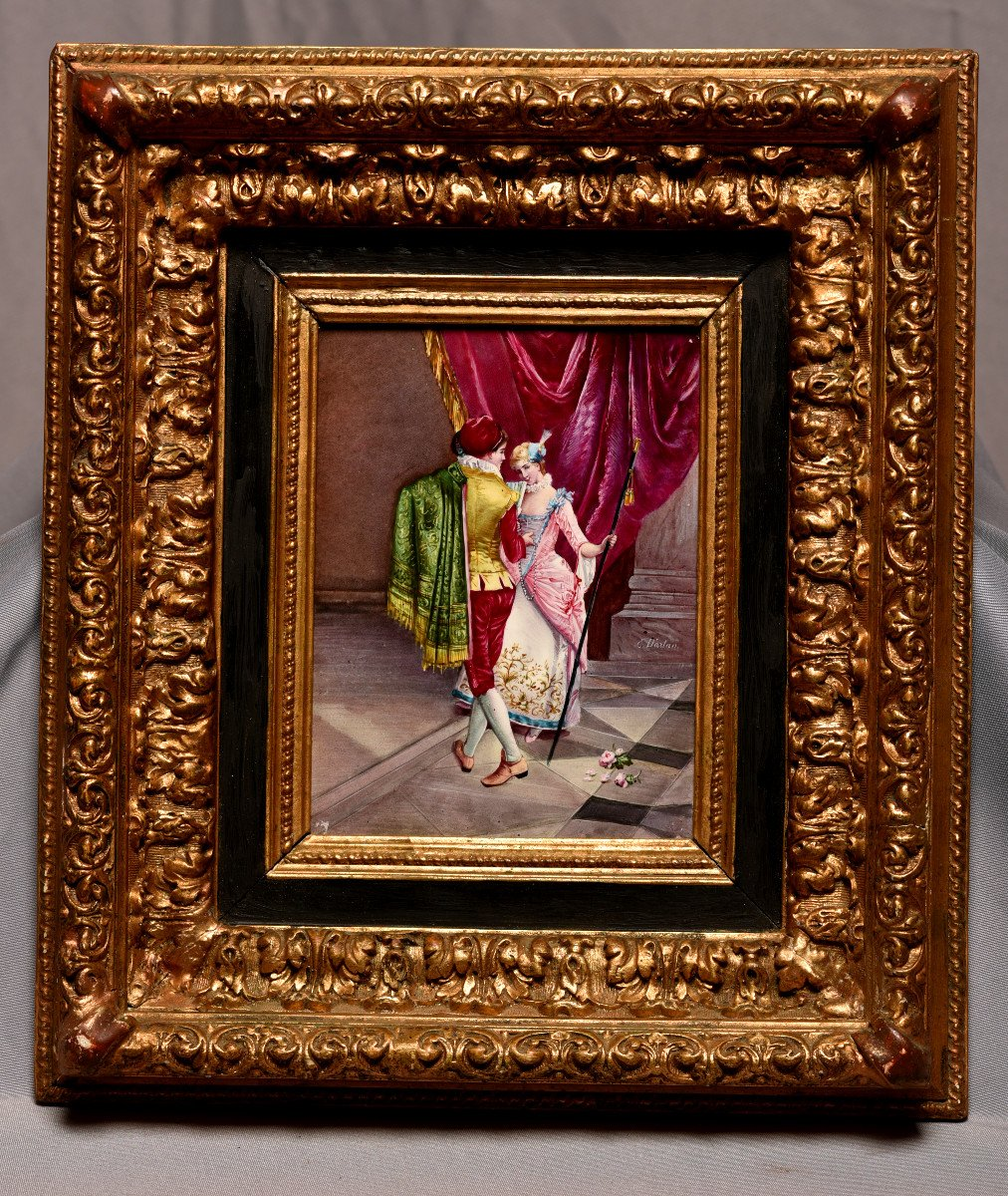 Plaque De Porcelaine. Couple En Habit Renaissance. -photo-6