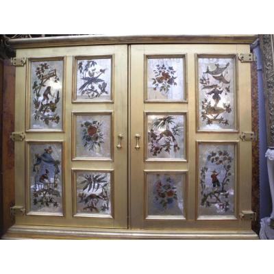 Cabinet En Verre églomisé. Style Jansen. Année 60. chinoiserie