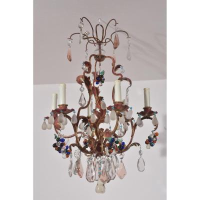 Wrought Iron Chandelier. Art Deco. Rings Style.