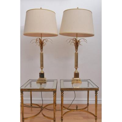 Reed Lamps Attributed To Maison Charles. 60s