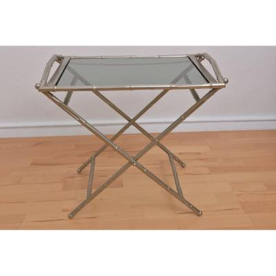 Table Pliante Décor Bambou Années 50.