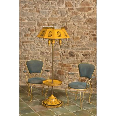 Floor Lamp In Plate Style Empire Around 1950.