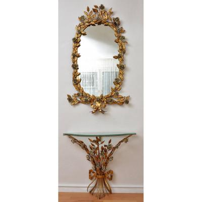 Italian Mirror And Console In Golden Brass. Years 50-60.