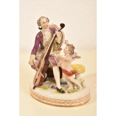 Player Of Viola And Angelot. Rudolstadt Volkstedt. 1910.