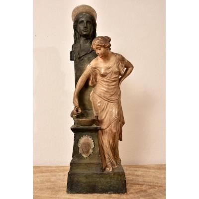 Goldscheider.  Imposante Sculpture Signée E. Tell.  Art Nouveau. 90cm