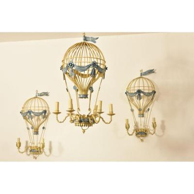 Balloon Chandelier And Its Sconces. Wrought Iron. 1960.