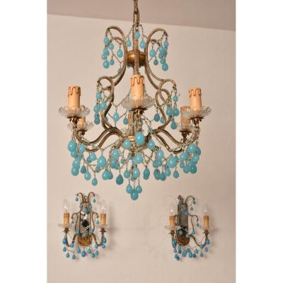 Chandelier In Opaline And Its Sconces. 1950. Murano.