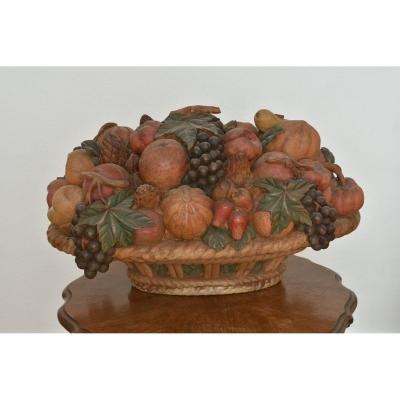 Important Basket Of Carved Wooden Fruits. Polychrome. 1900.
