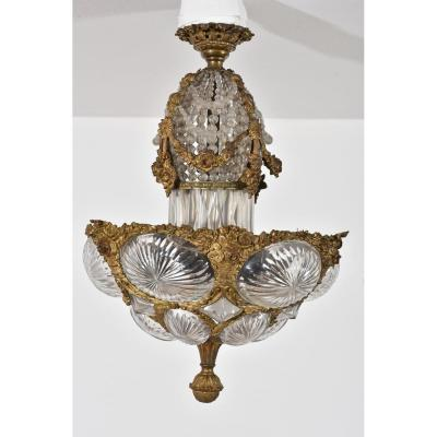 Suspension. Ceiling. Gilt Bronze And Crystal. Napoleon III.