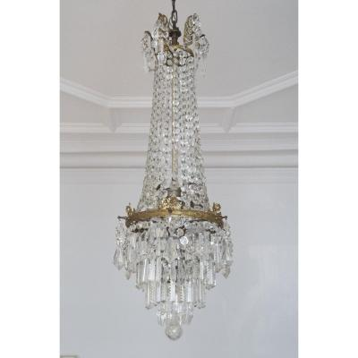 Chandelier In Bronze And Crystal. Candlestick. 1900.