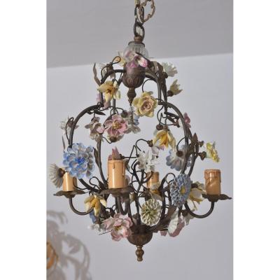 Bronze Chandelier. Porcelain Flowers.