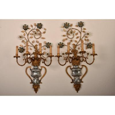 Imposing Pair Of Sconces. Baguès House. 1960.