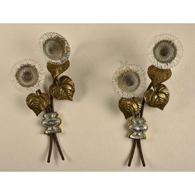 House Rings. Pair Of Sunflowers Wall Lights. 1960.