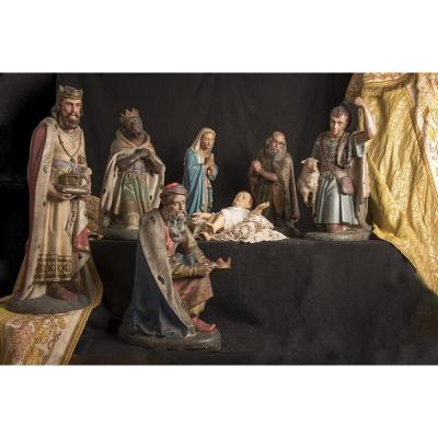 Christmas Church Nativity Scene In Polychrome Plaster. 1880.