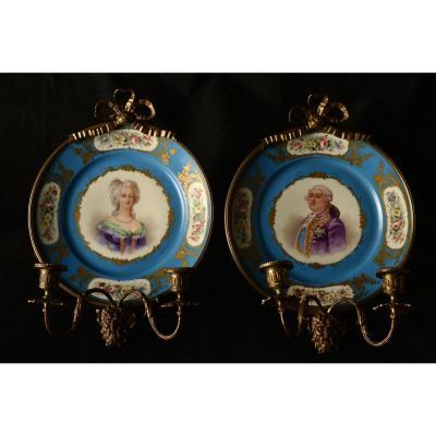 Louis XVI Et Marie Antoinette. Porcelaine 1870