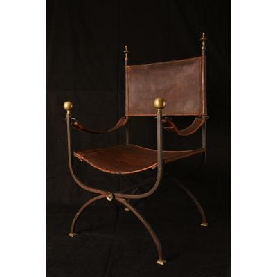 Curule Armchair In Wrought Iron And Bronze. XXth.