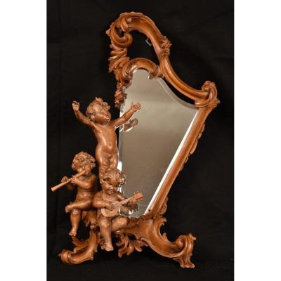Miroir En Bois De Tilleul. Enfants Musiciens XIXème.