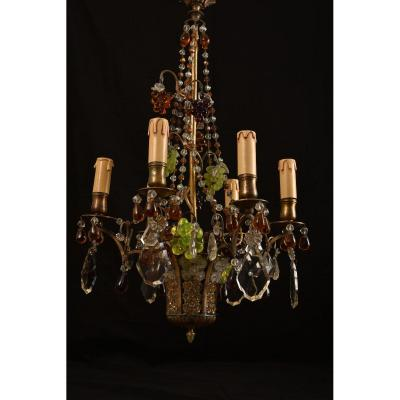 Art Nouveau Chandelier. Basket Of Grapes.