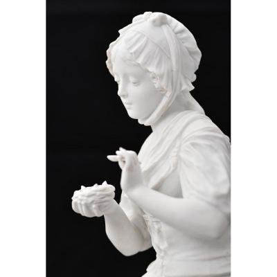 Sculpture En Biscuit. Oiseleuse. XIXème.