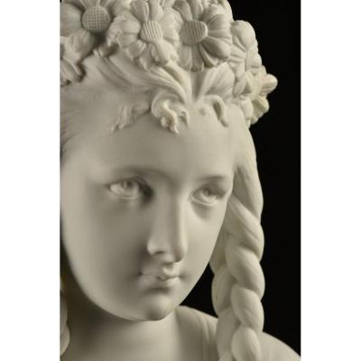 Buste De Jeune Femme Signé Carrier Belleuse 1865. Henri Ardant.
