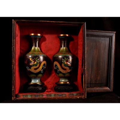 Paire De Vases émaillés En Cloisonné Sur Bronze. 1900
