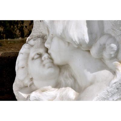 Sculpture En Marbre De Cararre XXème. Achille Fidi.